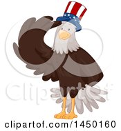 Clipart Graphic Of A Saluting Bald Eagle Wearing A Patriotic American Hat Royalty Free Vector Illustration