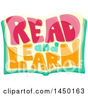 Clipart Graphic Of A Read And Learn Text Design On An Open Book Royalty Free Vector Illustration