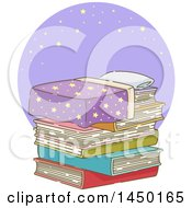 Clipart Graphic Of A Bed Of Stacked Books Against A Purple Circle With Stars Royalty Free Vector Illustration