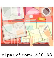 Clipart Graphic Of A Desk With School Books And A Hand Writing Royalty Free Vector Illustration
