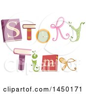 Clipart Graphic Of A Story Time Word Design With Books And Icons Royalty Free Vector Illustration