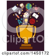 Clipart Graphic Of A Golden Trophy Cup With Educational Icons On Dark Brown Royalty Free Vector Illustration by BNP Design Studio