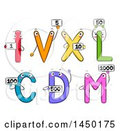 Clipart Graphic Of Roman Numeral Mascots Holding Number Flash Cards Royalty Free Vector Illustration