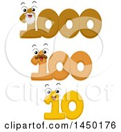 Clipart Graphic Of Number Mascots For A Decade Century And Millennium Royalty Free Vector Illustration