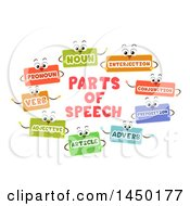 Clipart Graphic Of Flash Card Mascots Of The Different Parts Of Speech Royalty Free Vector Illustration