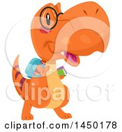 Clipart Graphic Of A Happy Orange Tyrannosaurus Rex Dinosaur Student Royalty Free Vector Illustration