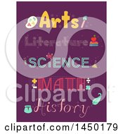 Clipart Graphic Of School Subject Topography Designs On Purple Royalty Free Vector Illustration