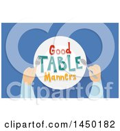 Clipart Graphic Of Good Table Manners On A Plate And Hands Over Blue Royalty Free Vector Illustration by BNP Design Studio
