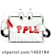 Clipart Graphic Of A White Magnetic Board Mascot Spelling The Word Apple Royalty Free Vector Illustration