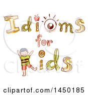 Clipart Graphic Of A Sketched Idioms For Kids Design With An Apple An Eye And A Kid Royalty Free Vector Illustration by BNP Design Studio