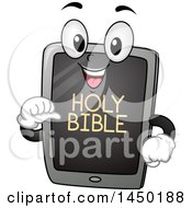 Clipart Graphic Of A Happy Tablet Mascot With Holy Bible Text On The Screen Royalty Free Vector Illustration