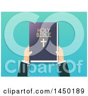 Clipart Graphic Of A Priests Hands Holding A Bible Over Gradient Blue Royalty Free Vector Illustration