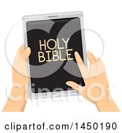 Clipart Graphic Of A Pair Of Hands Reading The Holy Bible On A Tablet Computer Royalty Free Vector Illustration