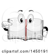 Clipart Graphic Of A Bible Mascot Book Pointing To A Page Royalty Free Vector Illustration