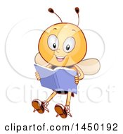 Clipart Graphic Of A Happy Bee Mascot Reading A Book Royalty Free Vector Illustration