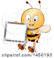 Clipart Graphic Of A Happy Bee Mascot Holding A White Board Royalty Free Vector Illustration