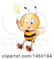 Clipart Graphic Of A Happy Bee Mascot With An Idea Light Bulb Royalty Free Vector Illustration