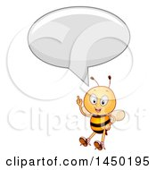Clipart Graphic Of A Happy Bee Mascot Holding Up A Finger And Talking Royalty Free Vector Illustration