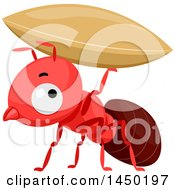 Clipart Graphic Of A Cute Red Ant Holding Up A Grain Royalty Free Vector Illustration by BNP Design Studio