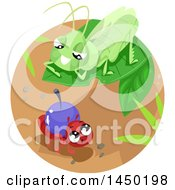 Clipart Graphic Of A Grasshopper On A Leaf Over A Worker Ant Royalty Free Vector Illustration by BNP Design Studio