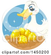 Clipart Graphic Of A Fable Scene Of The Duck Who Laid Golden Eggs Royalty Free Vector Illustration