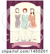 Clipart Graphic Of A Trio Of Mannequins In Vintage Dresses Royalty Free Vector Illustration