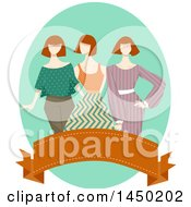 Clipart Graphic Of A Group Of Mannequins In Vintage Apparel Over A Banner Royalty Free Vector Illustration