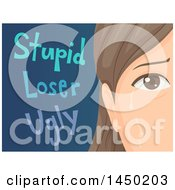 Clipart Graphic Of A Sad Woman Or Teenage Girl Crying After Being Called Names Royalty Free Vector Illustration