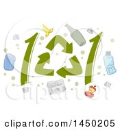 Clipart Graphic Of Recycle Symbols Forming 101 And Icons Royalty Free Vector Illustration