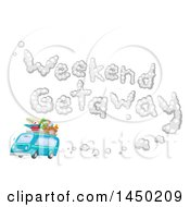 Clipart Graphic Of A Blue Van Packed With Gear And Weekend Getaway Smoke Royalty Free Vector Illustration