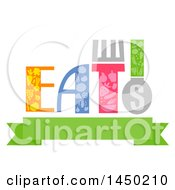 Clipart Graphic Of A Typography Eats Word Design With Food Over A Banner Royalty Free Vector Illustration