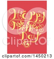 Clipart Graphic Of A Happy Mothers Day Text Design On Red Royalty Free Vector Illustration