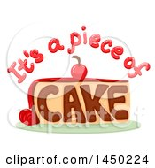 Clipart Graphic Of A Piece Of Cake Idiom Saying With A Slice Royalty Free Vector Illustration