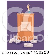 Clipart Graphic Of A Drug Addict Reaching For Help From A Giant Pill Bottle Over Purple Royalty Free Vector Illustration