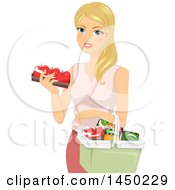 Happy Blond White Woman Selecting Produce And Putting Them In A Basket