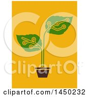 Poster, Art Print Of Potted Electronic Circuit Plant Over Orange
