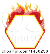 Fiery Hot Flaming Flame Hexagon Design Element