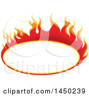Fiery Hot Flaming Flame Oval Design Element