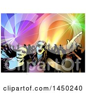 Clipart Graphic Of A Couple In Front Of A Crowded Dance Floor Of People Dancing Ot Disco Music Under Lights Royalty Free Vector Illustration