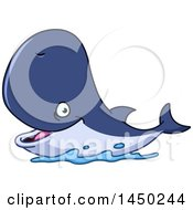 Clipart Graphic Of A Cartoon Happy Whale Smiling Royalty Free Vector Illustration