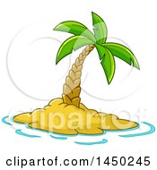 Clipart Graphic Of A Cartoon Lone Palm Tree On A Tropical Island Royalty Free Vector Illustration