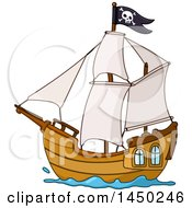 Clipart Graphic Of A Cartoon Sailing Pirate Ship Flying A Jolly Roger Flag Royalty Free Vector Illustration