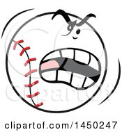 Clipart Graphic Of A Cartoon Angry Baseball Mascot Royalty Free Vector Illustration
