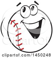Clipart Graphic Of A Cartoon Happy Baseball Mascot Smiling Royalty Free Vector Illustration by Johnny Sajem