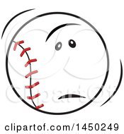 Clipart Graphic Of A Cartoon Unhappy Baseball Mascot Frowning Royalty Free Vector Illustration