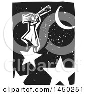 Black And White Woodcut Girl Standing On A Star And Looking Through A Telescope In A Night Sky