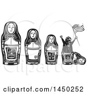 Clipart Graphic Of A Line Of Russian Matryoshka Nesting Dolls And Politician Holding An American Flag And Popping Out Of The Smallest One Royalty Free Vector Illustration