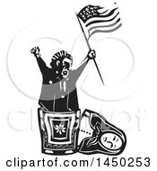 Clipart Graphic Of A Politician Holding An American Flag And Popping Out Of A Russian Matryoshka Nesting Doll Royalty Free Vector Illustration