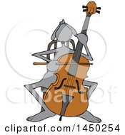 Clipart Graphic Of A Cartoon Cellist Musician Dog Playing A Cello Royalty Free Vector Illustration