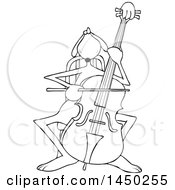Clipart Graphic Of A Cartoon Black And White Lineart Cellist Musician Dog Playing A Cello Royalty Free Vector Illustration